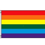 rainbow colors in horizontal stripes, printed, heading and grommets, 3 x 5'