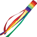 "horizontal stripes in upper tube of windsock, streaming tails of windsock in individual rainbow colors, 60"" overall"