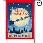 Santa and reindeers rising to the midnight sky silhouetted against a full moon with Merry Christmas  written against the moon, above the sleigh and Happy New year across the bottom.  Burlap backing and red material frame.