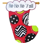 Embroidered applique Christmas stocking shaped house flag featuring a bright red stocking with patches of black and white chevrons, zebra stripes and polka dots, all accented with lime green. The stitched lettering says Ho Ho Ho Y'all and reads correctly on both sides.