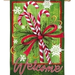 Candy canes tied with a ribbon against a warm, green background with snowflakes, trimmed with dark green border and Welcome written across the bottm