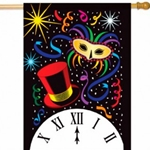 Red top hat, masquerade mask, confetti, clock showing midnight against black background