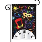 Masquerade mask, top hat, confetti and clock in brilliant colors against a black background