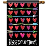 "Brightly colored hearts in rows divided by colorful arrows, against a black background with ""Bless Your Heart"" message across the bottom."