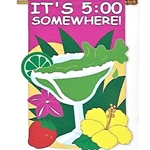 "Margarita glass surrounded by flowers with lettering across top, ""It's 5:00 Somewhere"""