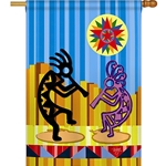 Two kokopelli dancers, brilliant colors, red sun symbol against yellow in right-hand corner