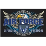 Air force logos displayed with words Defending Freedom in banner across the width.