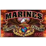 Marines logos against a background with the words Marines Defending Freedom on a banner across the width.