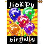 brightly colored balloons against orange and yellow striped background with the words Happy across top and Birthday across bottom in white lettering against black