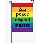 horizontal rainbow stripes with  words love, peace, respect, pride in black lettering, one word per color stripe