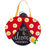 Door handle hanger in the shape and colors of a ladybug, with embroidered message of Hello and Welcome Friends