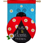 Lady bug with red wings, black body and head, against sky-blue background. Message on body reads Hello and Welcome Friends