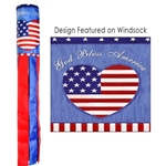 "windsock in red, white and blue colors with the words ""God Bless America"" and a red heart printed on the windsock body"