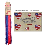 red, white and blue windsock with America the Beautiful and red, white and blue hearts printed on the windsock body