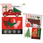 Americana pictures of roosters, old pick-up truck, Christmas trees in blocks of green and red color with Peace On earth message on one side and Welcome on the other.