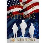 "Silhouette of soldiers in white against dark blue background, part of US flag across top and gold lettering  at various parts throughout flag saying ""thank you veterans for your service""."