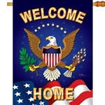 Eagle with wings spread with shield on chest, half-circle of stars over head between wings, dark blue background , part of US flag at bottom under eagle,  words reading welcome across top and home across bottom.