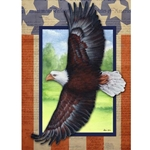 Bald eagle flying wingspread in front of a window, surrounded by wallpaper  made of Constitution.