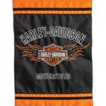 Harley-Davidson embroidered across top in semi-circle, white letters against black background, blazing symbol in center with Harley Davidson Motor Cycles tightly superimposed over blazes, word motorcycles appliqued across bottom ; orange trim across top and bottom