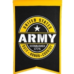 Beautiful banner made of a high quality, heavy wool blend; design detail includes both embroidery and appliqué of themes specific to the Army.